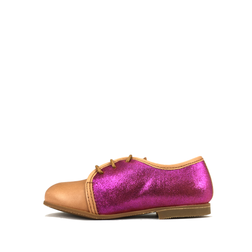 Gallucci veterschoen Veterschoen in bruin met blinkend fuchsia