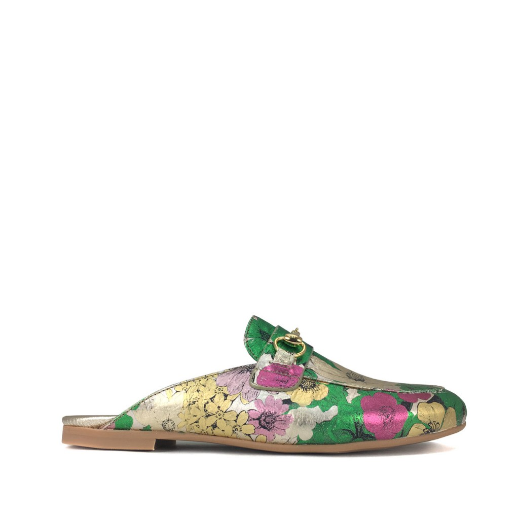 BiKey - Metallic loafer with flower print