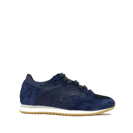 Kids shoe online Philippe Model trainer Runner in blue leather and suede