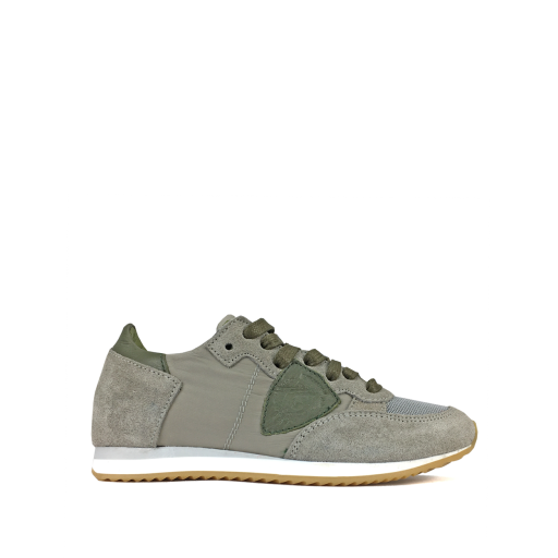 Kids shoe online Philippe Model trainer Runner in grey leather and suede