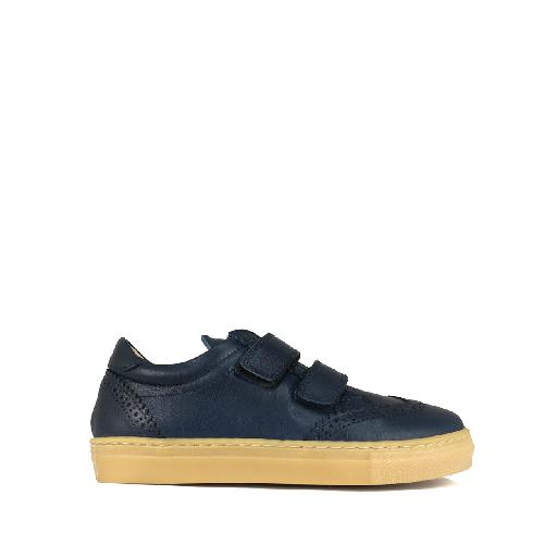 Kids shoe online Gallucci trainer Dark blue velcro sneaker with brogues
