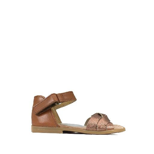 Kids shoe online Two Con Me by Pepe sandal Brown toddler's sandal with copper braided detail