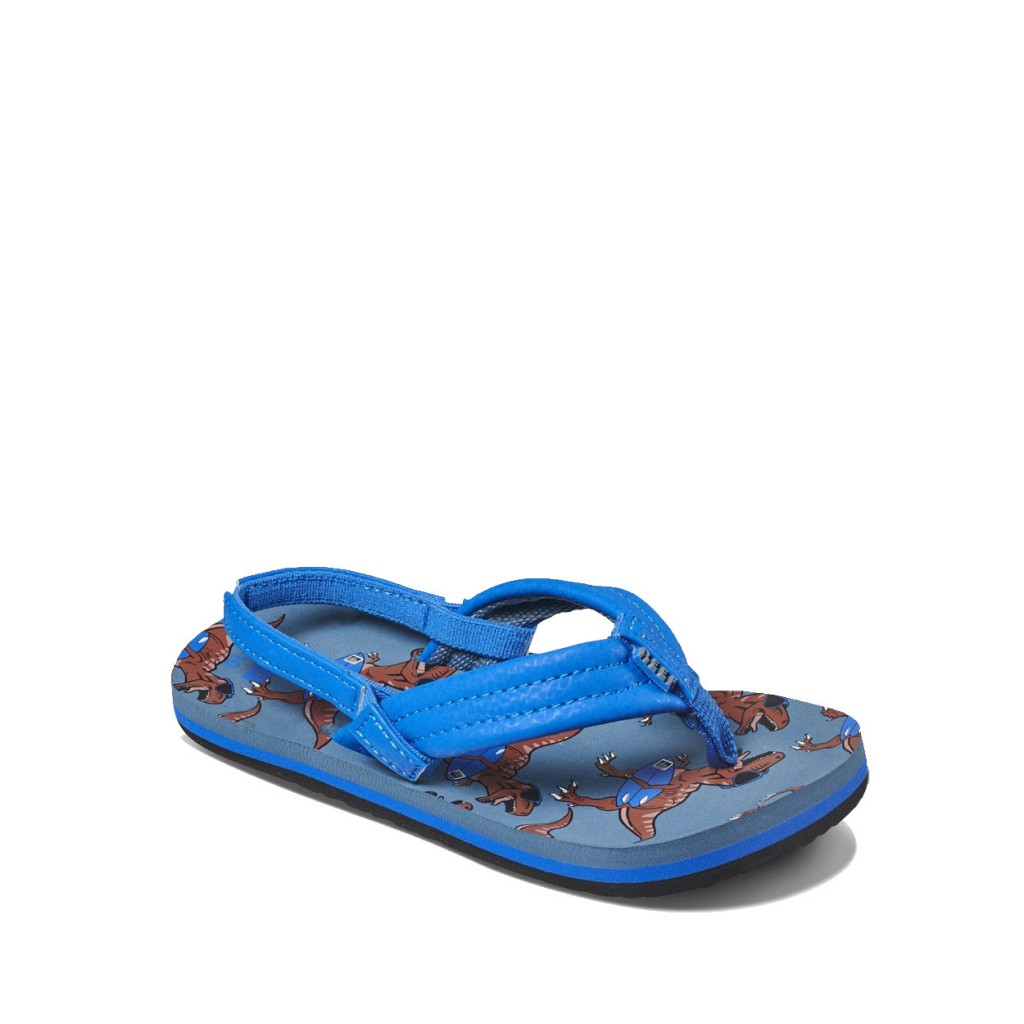 Reef - Bue flip flops with dino print