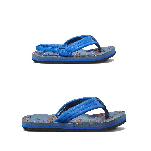 Reef teenslipper Blauwe teenslipper met dino print