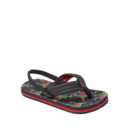 Kids shoe online Reef flipflop Black flip flops with dino print