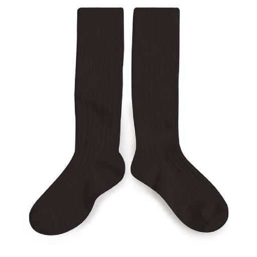 Kids shoe online Collegien knee socks Knee socks dark brown - Grain de Café