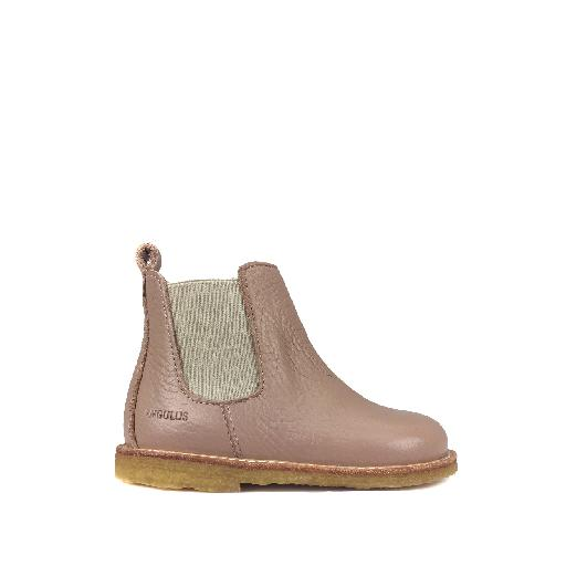 Kids shoe online Angulus first walker Nude pink chelsea boot with zipper