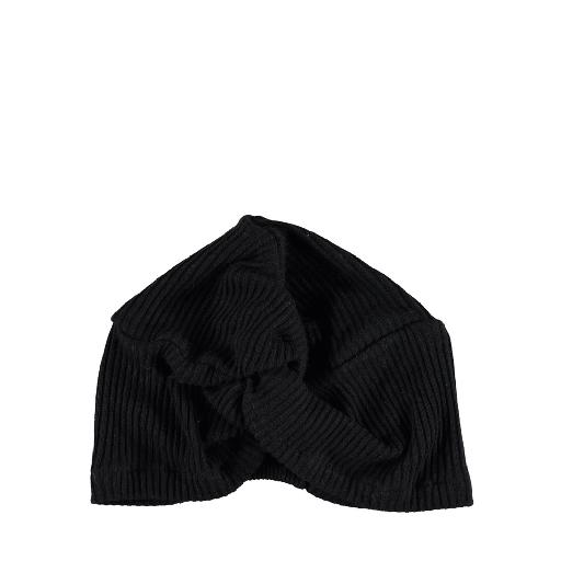 Kids shoe online Piupiuchick hats Black ribbed turband