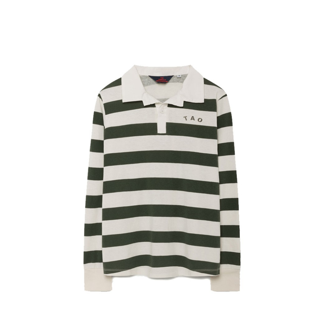 The Animals Observatory longsleeves Green and white striped long sleeved t-shirt