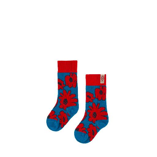 Kids shoe online The Animals Observatory short socks Red blue floral woollen socks