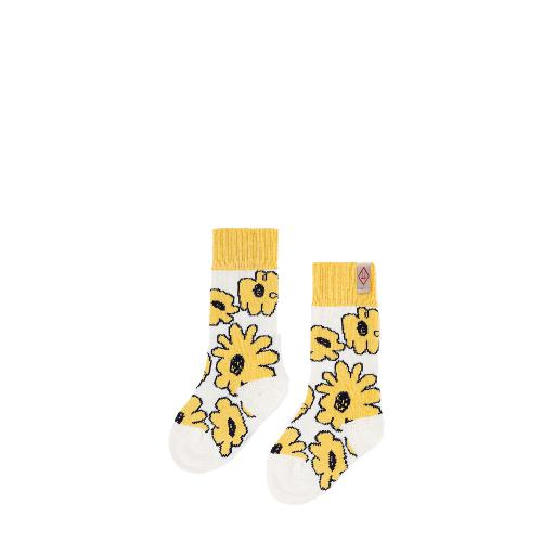 Kids shoe online The Animals Observatory short socks Beige yellow floral woollen socks