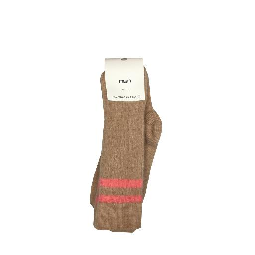 Kids shoe online Maan knee socks Beige lambswool kneesocks