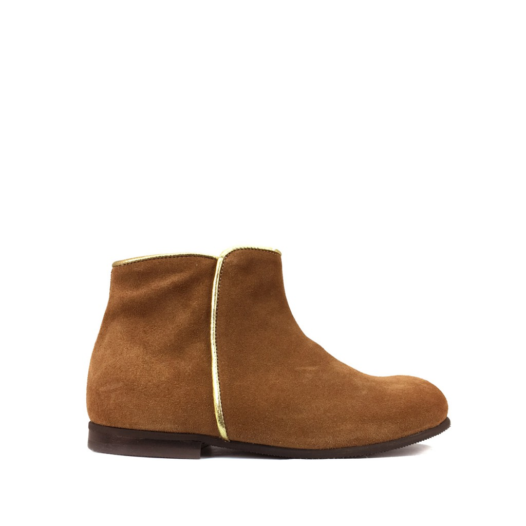 Pèpè - Short boot in brown nubuck with gold piping