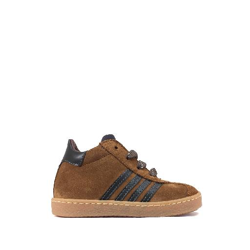 Kids shoe online Rondinella trainer Brown nubuck 1st step sneaker with stripes
