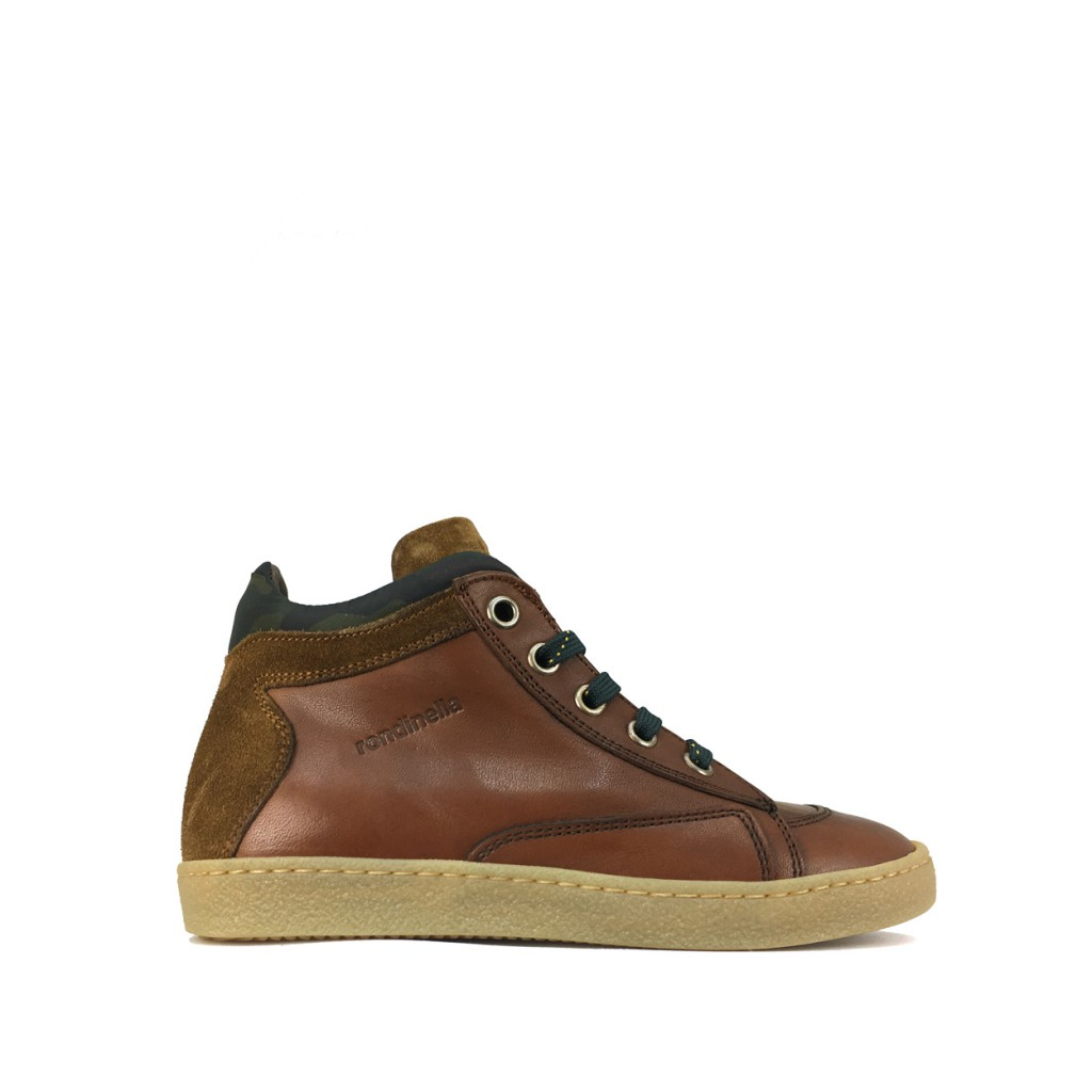 Rondinella - High brown lacesneaker with army detail