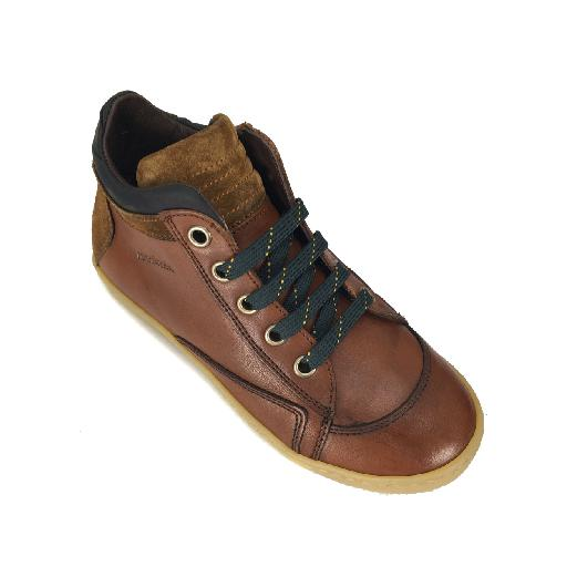 Rondinella trainer High brown lacesneaker with army detail