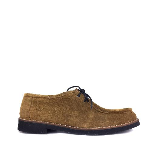 Kids shoe online Eli lace-up shoe Brown suede derby with print