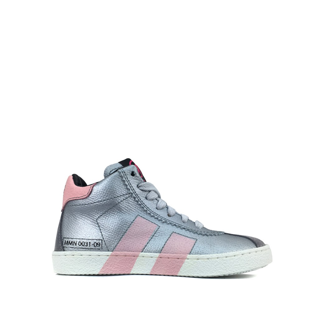 Momino - High silver sneaker with pink stripes