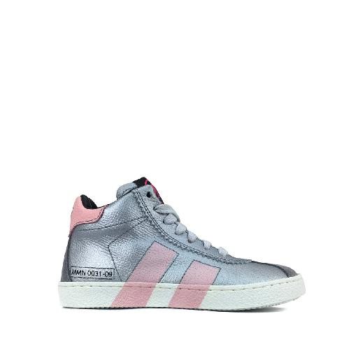 Kids shoe online Momino trainer High silver sneaker with pink stripes