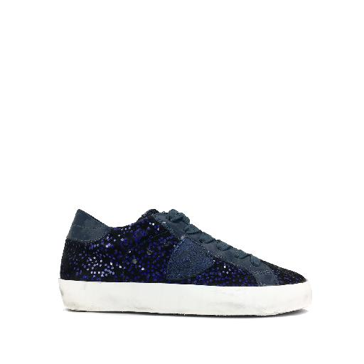 Kids shoe online Philippe Model trainer Blue glitter sneaker in velvet