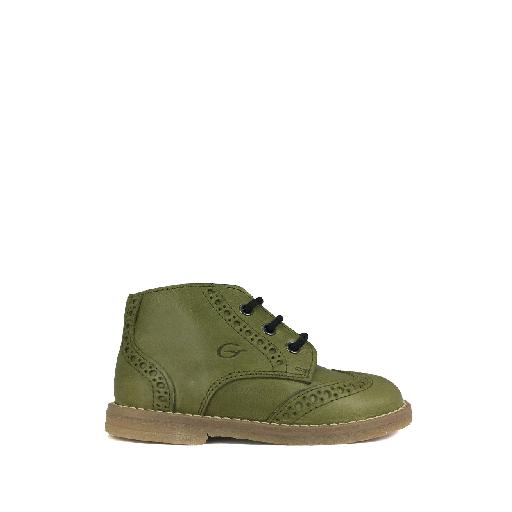Kids shoe online Gallucci first walker Green little boots with brogues