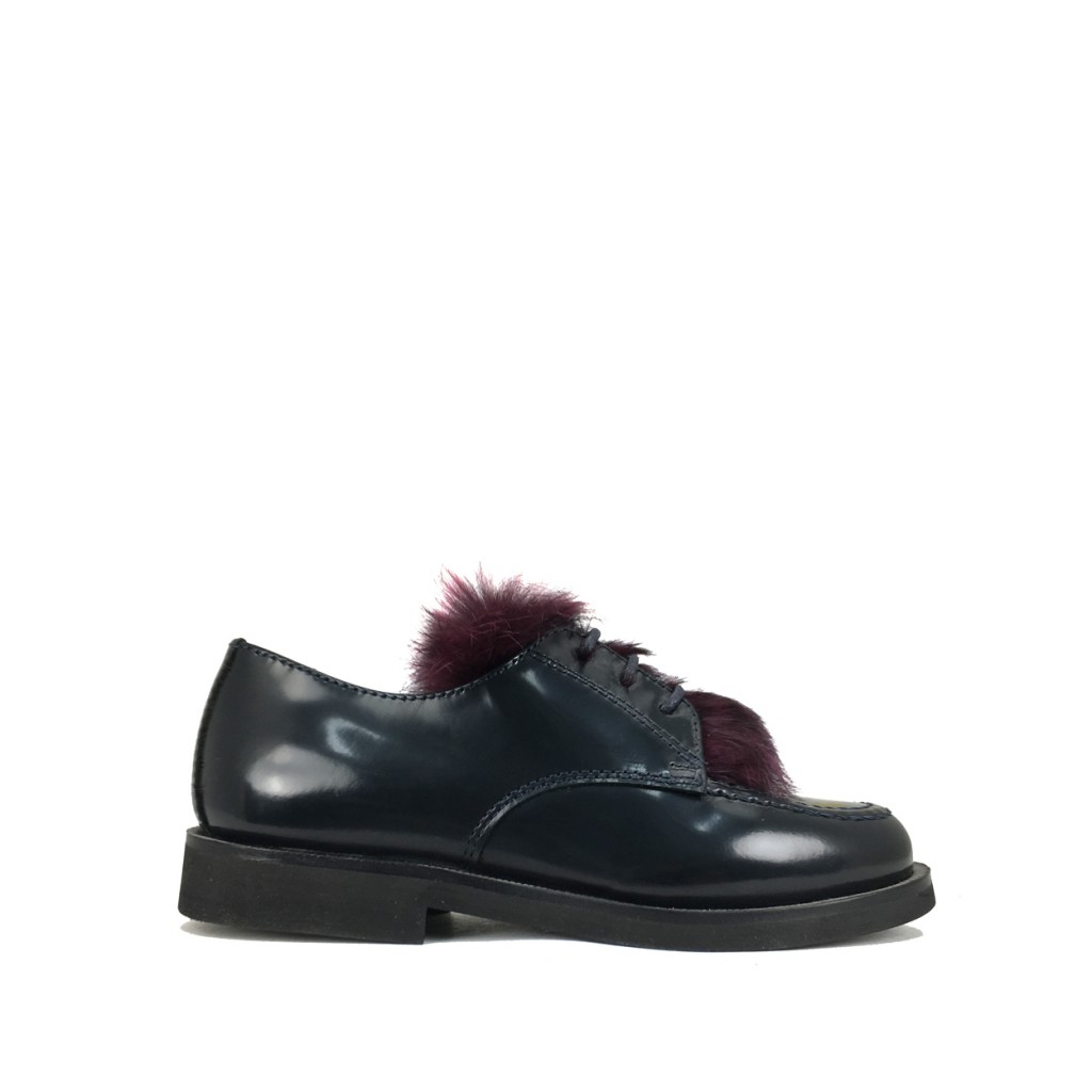 Gallucci - Dark blue derby with burgundy detail