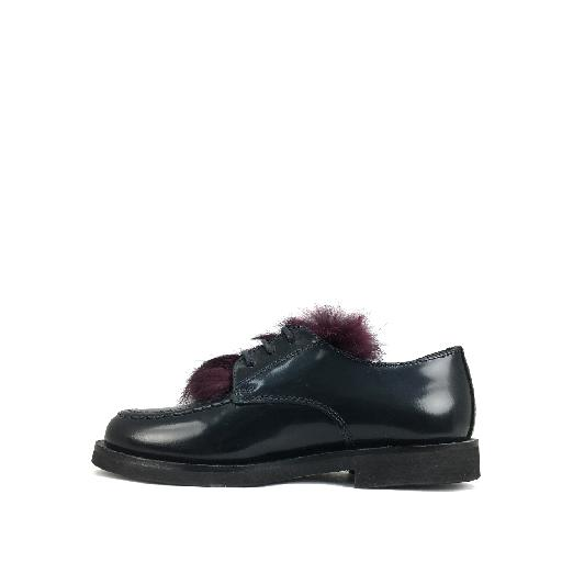 Gallucci lace-up shoe Dark blue derby with burgundy detail