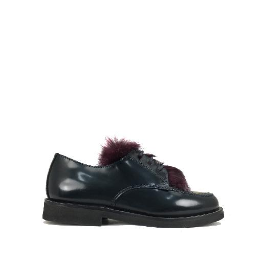 Kids shoe online Gallucci lace-up shoe Dark blue derby with burgundy detail
