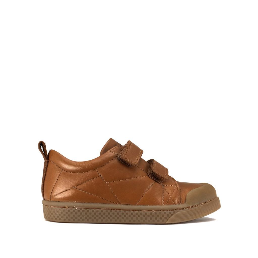 10IS - Brown velcro sneaker with stitched surfaces