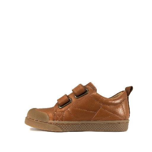 10IS trainer Brown velcro sneaker with stitched surfaces