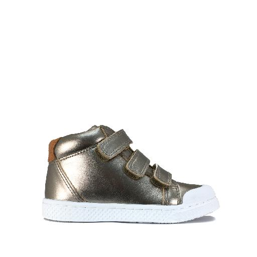 Kinderschoen online 10IS sneaker Hoge velcro sneaker in metallic goud
