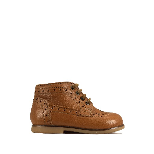 Kids shoe online Ocra first walker First stepper with brogues in brown