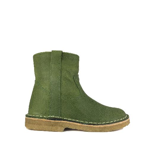 Kids shoe online Pinocchio boot Green half-high boot on crepe sole