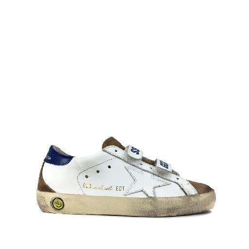 Kids shoe online Golden Goose deluxe brand trainer Low velcro sneaker in white and blue