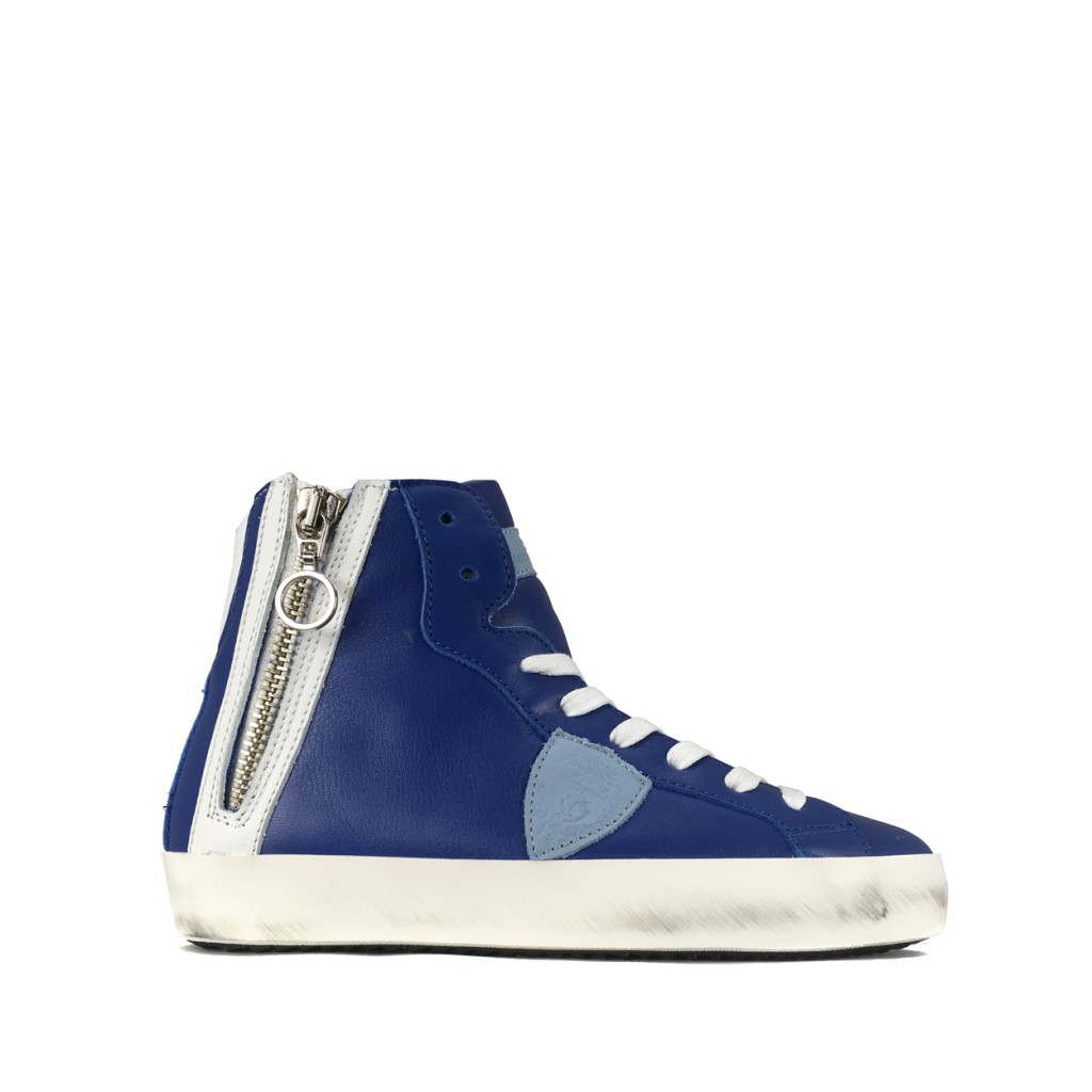 Philippe Model - High sneaker in blue and white