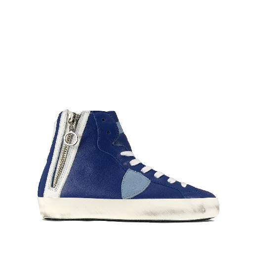 Kids shoe online Philippe Model trainer High sneaker in blue and white