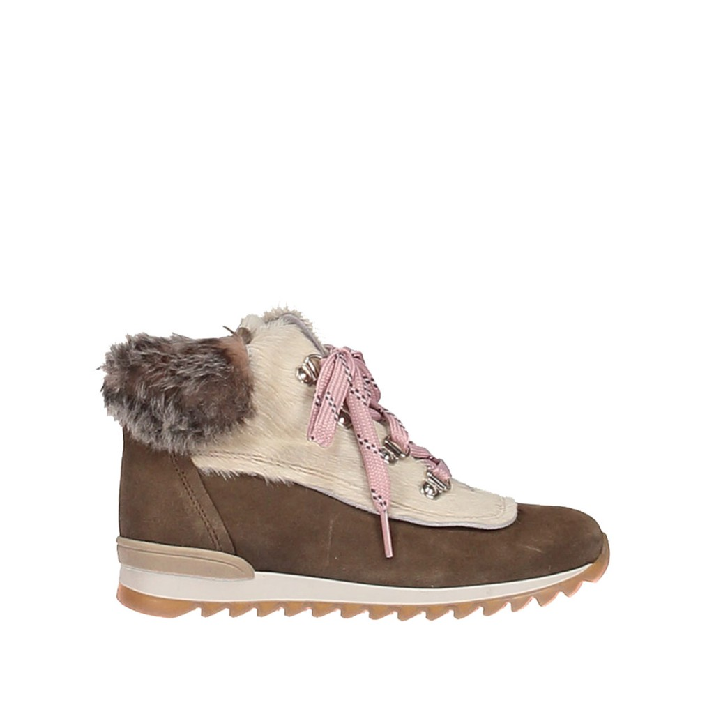 Novel Walk  - Lace-up boot in kaki brown and white