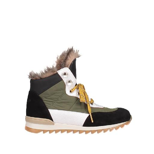 Kids shoe online Novel Walk  boot Lace-up boot in green, black and white