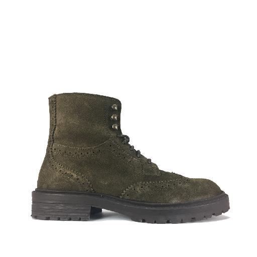 Kids shoe online HIP boot Green suede lace boot with brogues details