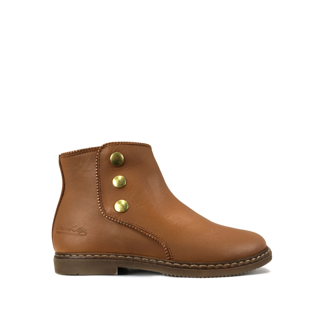 Pom d'api - Short brown boot with studs