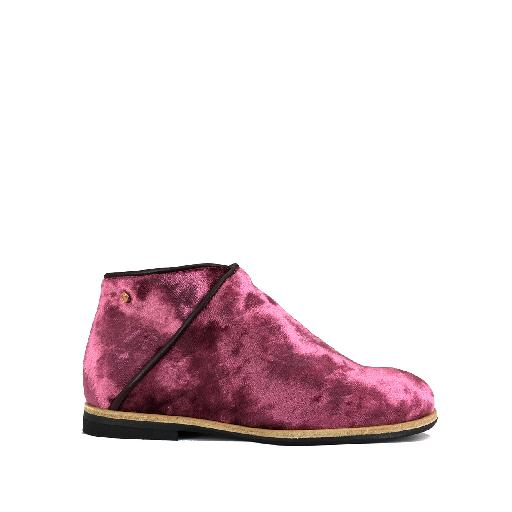 Manuela de juan short boots Wine red velvet ankle boot
