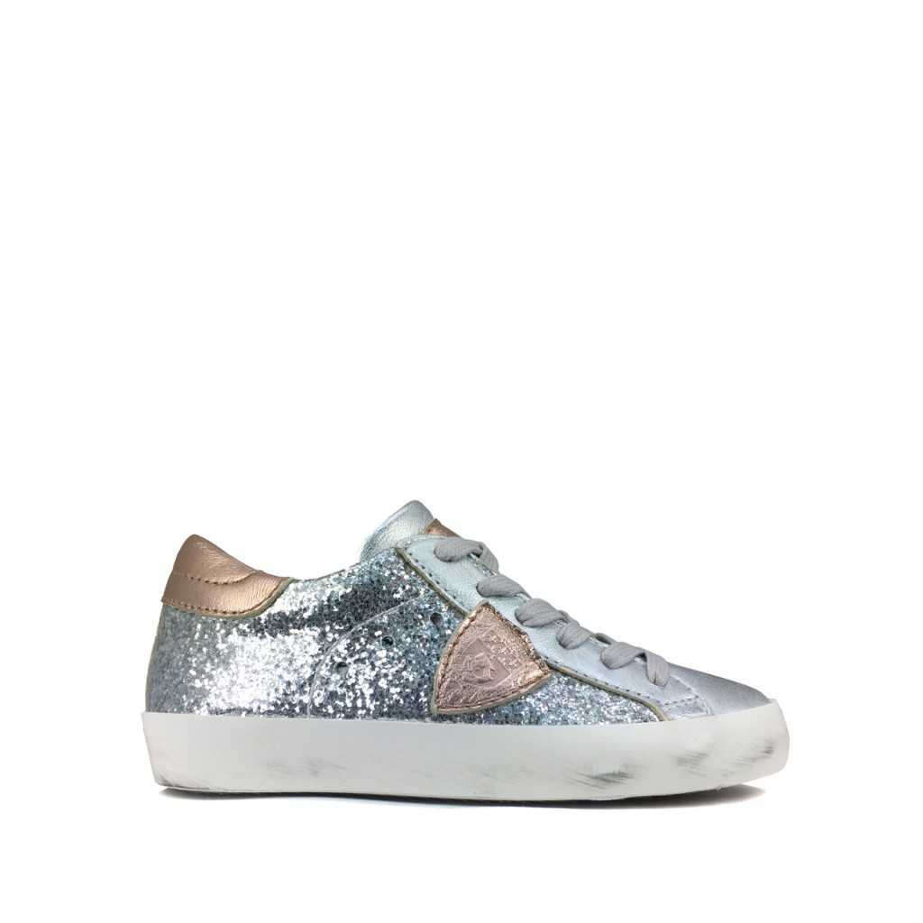Philippe Model - Glitter lace sneaker in silver and rose gold