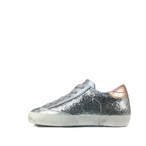 Philippe Model trainer Glitter lace sneaker in silver and rose gold