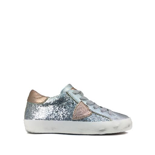Kids shoe online Philippe Model trainer Glitter lace sneaker in silver and rose gold