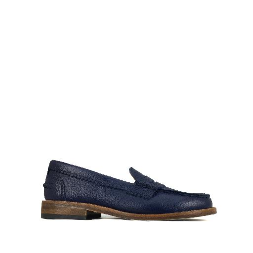 Kids shoe online Gallucci loafer Blue loafer with beautiful stitching