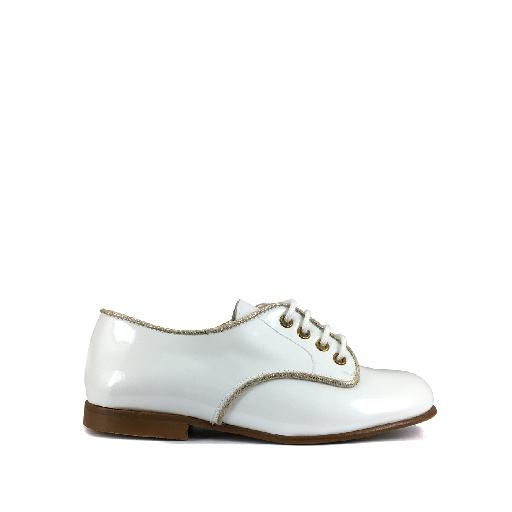 Kids shoe online Eli lace-up shoe White derby in patent leather