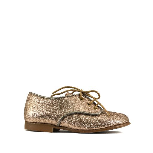 Kids shoe online Eli lace-up shoe Derby in glitter gold
