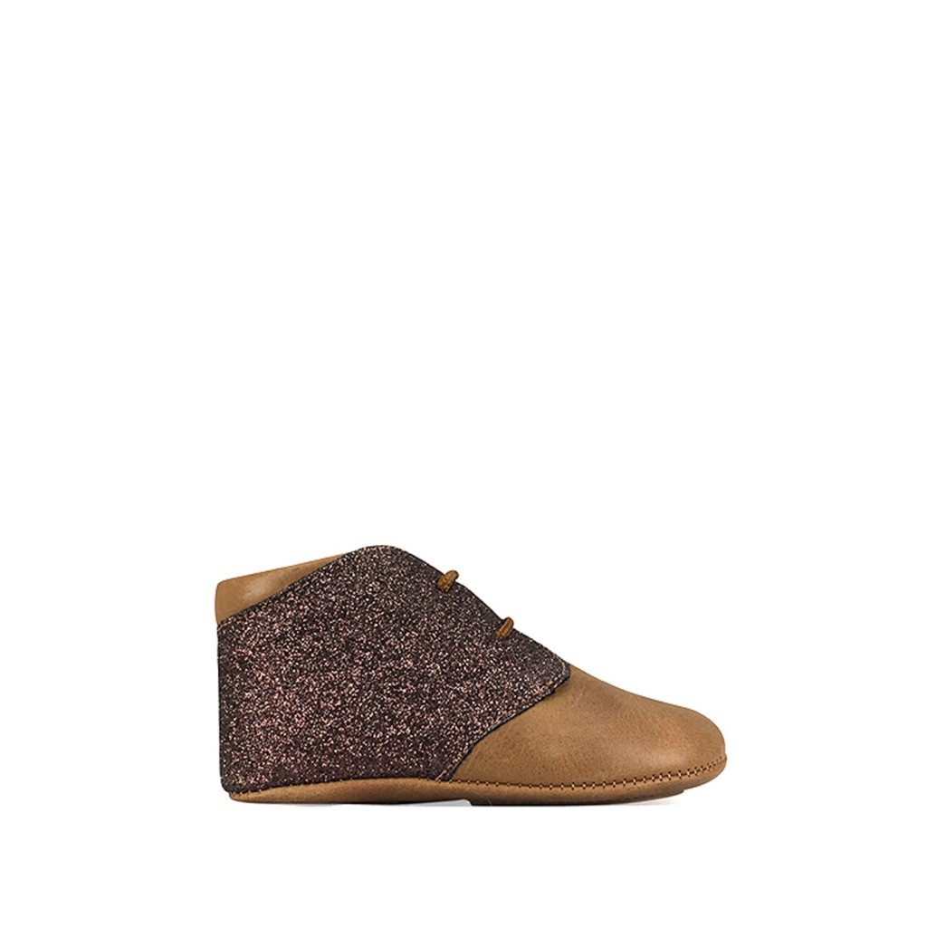 Tricati - Pre-step shoe in cognac and glitter