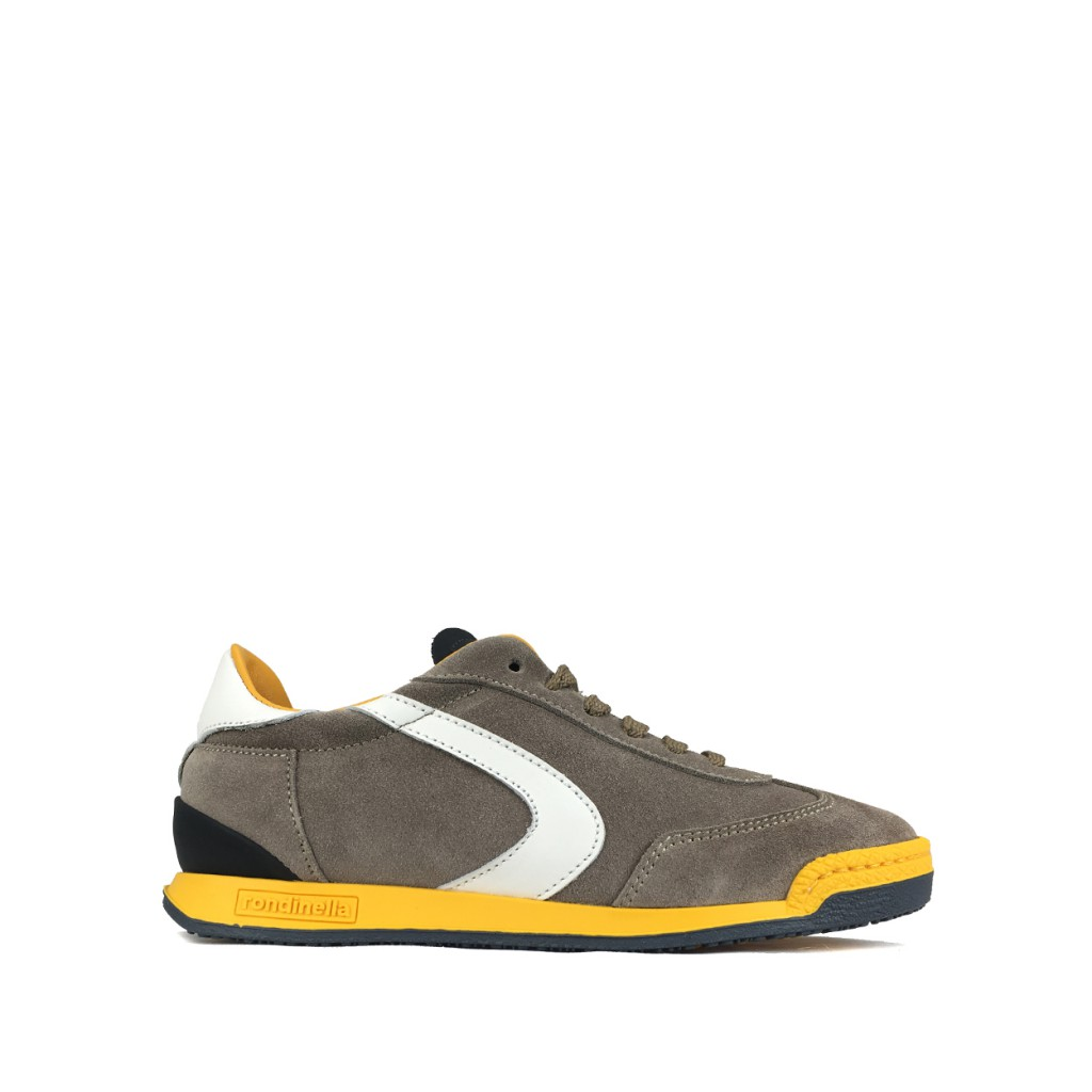 Rondinella trainer Sneaker in grey with ochre yellow details