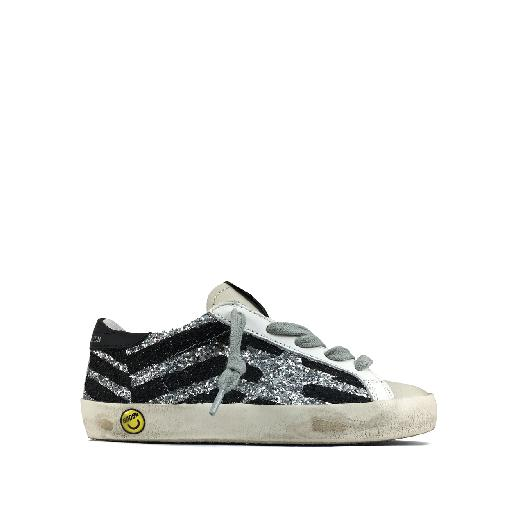 Kids shoe online Golden Goose deluxe brand trainer Glitter sneaker in silver and black